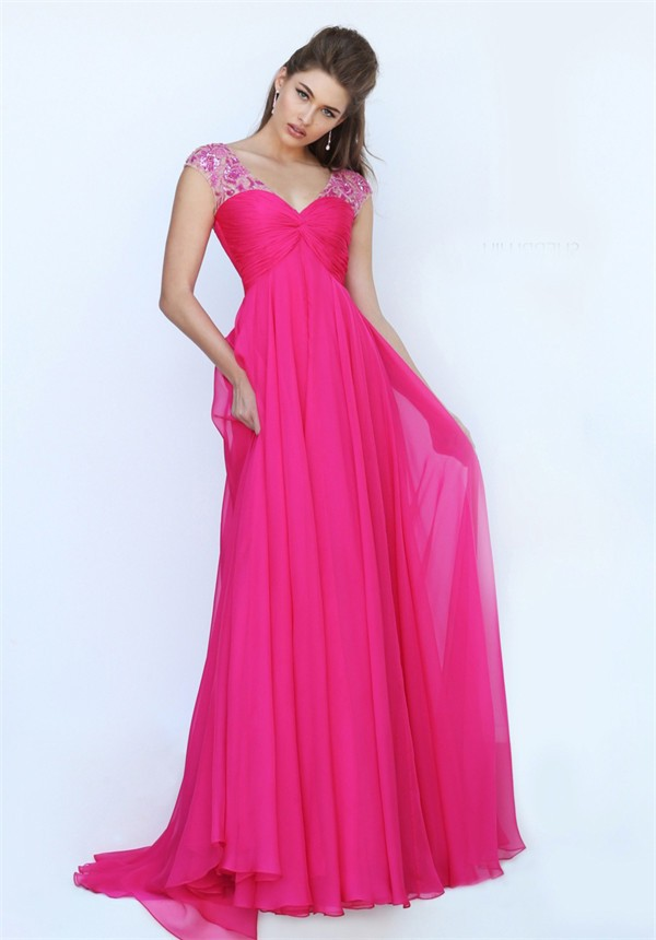 V Neck Cap Sleeve Open Back Empire Waist Long Hot Pink Chiffon Prom ...