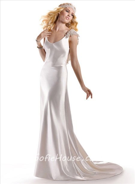 Vintage Chic Sheath V Neck Ivory Silk Satin Wedding Dress Open Back