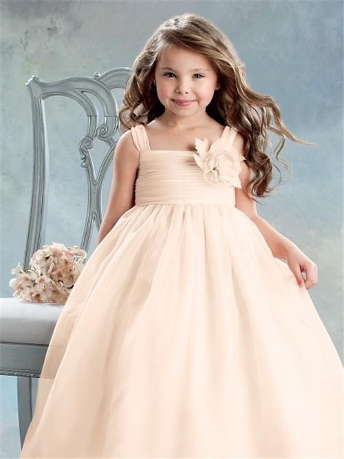 Vintage Empire Tea Length Peach Organza Flower Girl Dress