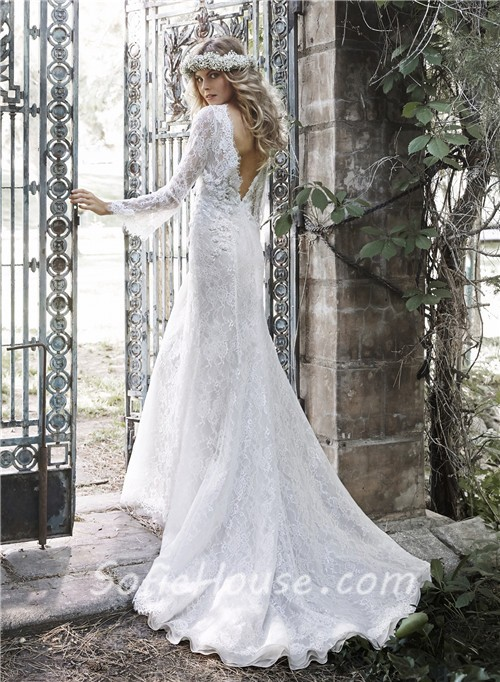 Vintage mermaid scalloped neck low back long sleeve lace for Lace low back wedding dress