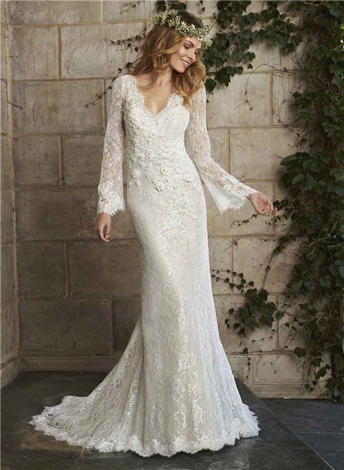 Vintage mermaid scalloped neck low back long sleeve lace for Vintage mermaid style wedding dresses