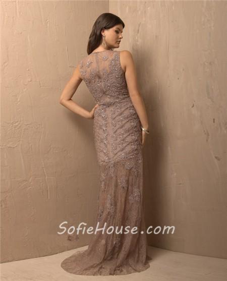 Vintage Sheath Sleeveless Long Light Brown Lace Beaded Evening ...
