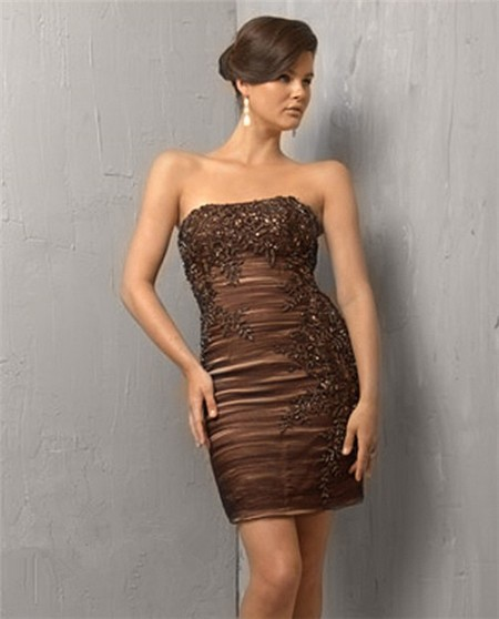 Tight Strapless Short/ Mini Brown Cocktail Evening Dress With Lace ...
