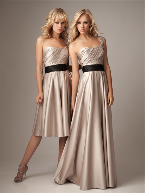 A line one strap knee length short champagne silk bridesmaid dress ...