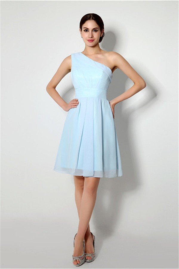 A line one shoulder short light blue chiffon bridesmaid for Short blue wedding dresses