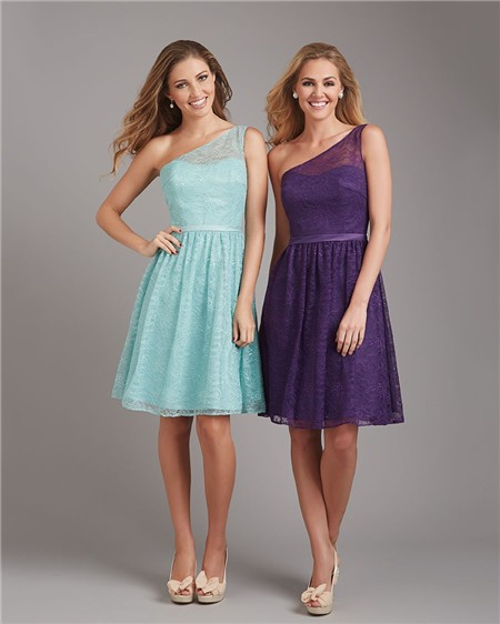 A Line One Shoulder Short Purple Lace Wedding Guest Bridesmaid Dress ...