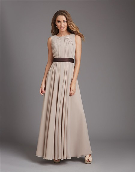 A Line Scoop Neck Open Back Long Grey Chiffon Wedding
