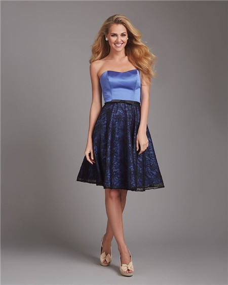 A line strapless short blue satin black lace bow wedding for Black guest wedding dresses