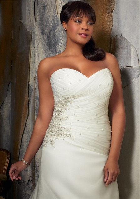 96983ddc7ad A Line Sweetheart Corset Back Ruched Organza Satin Plus Size Wedding ...