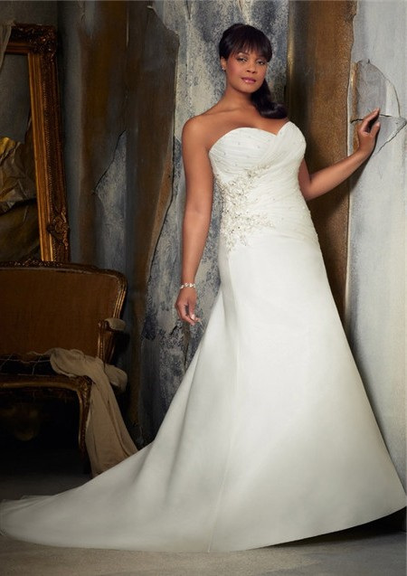 A line sweetheart corset back ruched organza satin plus for Free plus size wedding dress catalogs
