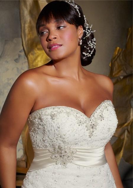615c103eeb3 A Line Sweetheart Corset Back Organza Lace Beaded Plus Size Wedding Dress  With Belt