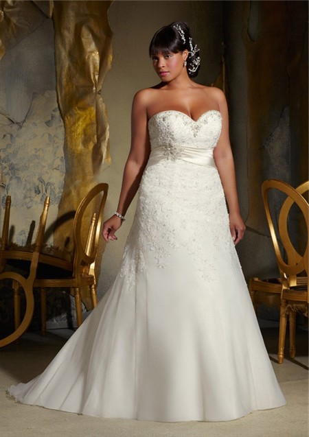 A line sweetheart corset back organza lace beaded plus for Plus size beaded wedding dresses