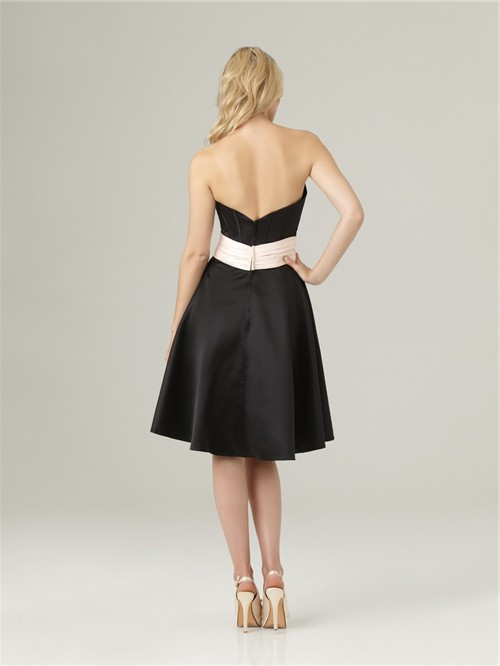 A Line Sweetheart Knee Length Short Formal Black Silk
