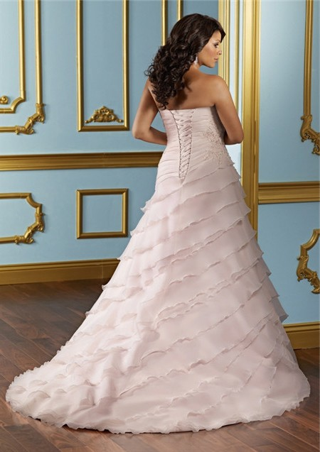 A line sweetheart layered blush pink organza ruffle plus for Pink ruffle wedding dress