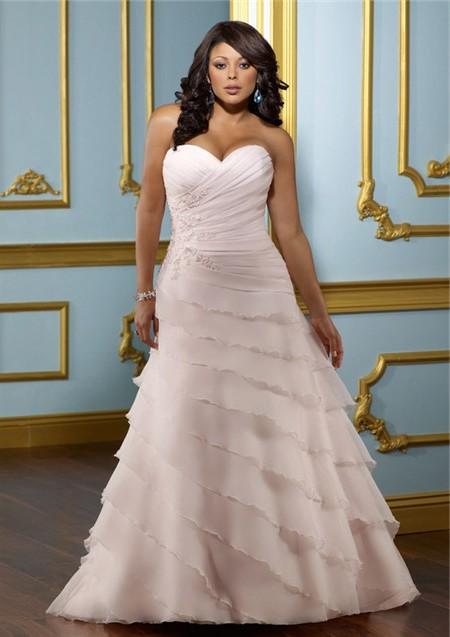 A line sweetheart layered blush pink organza ruffle plus for A line ruffle wedding dress