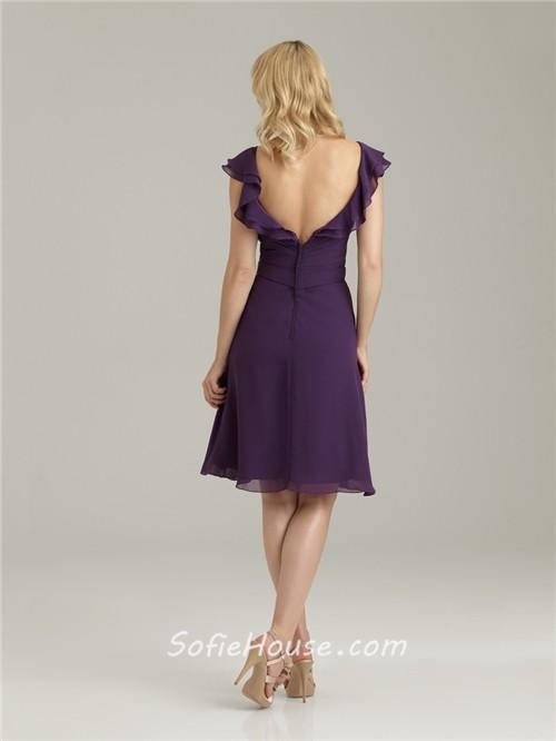 Light Purple Quinceanera Dresses A line v neck knee len...