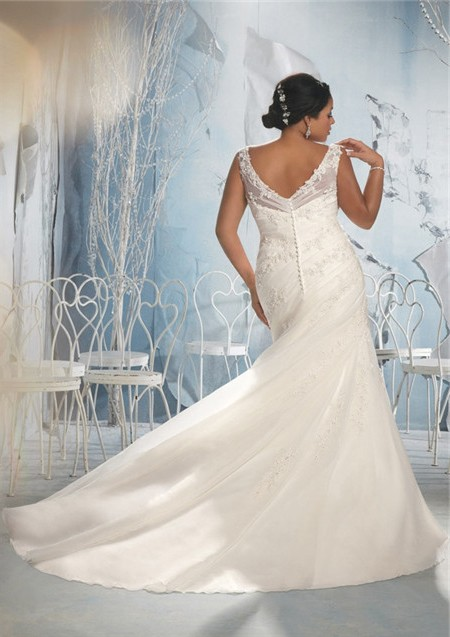 A Line V Neck Sheer Straps Ruched Organza Lace Plus Size Wedding Dress