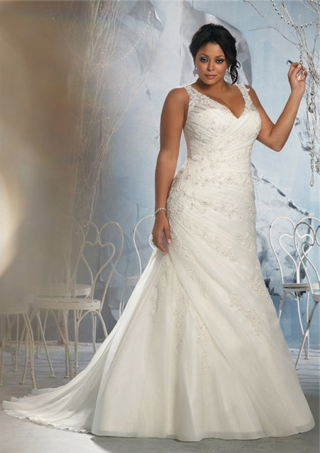 A line v neck sheer straps ruched organza lace plus size for Lace wedding dress with straps