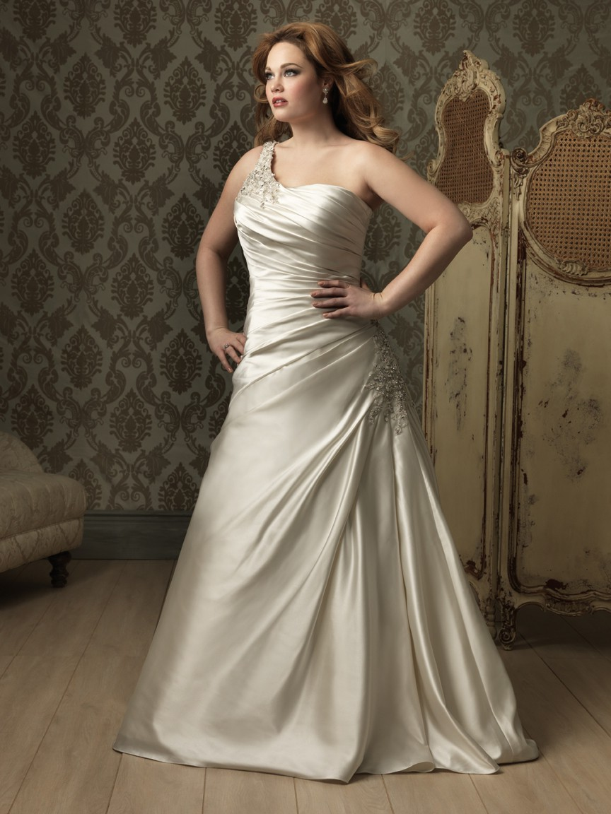 A line princess one shoulder ivory satin ruched plus size for Ivory silk wedding dresses
