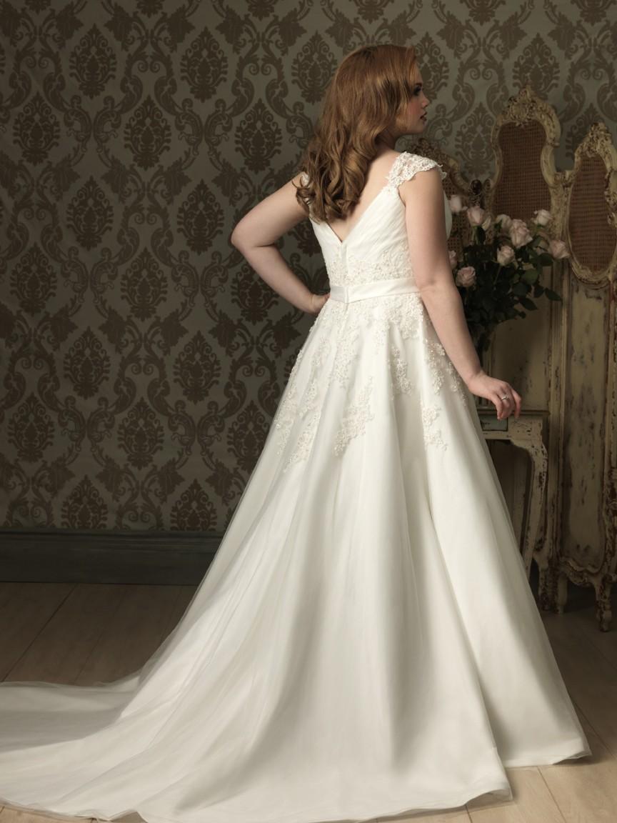 A line princess v neck cap sleeve tulle lace plus size for Designer wedding dresses plus size