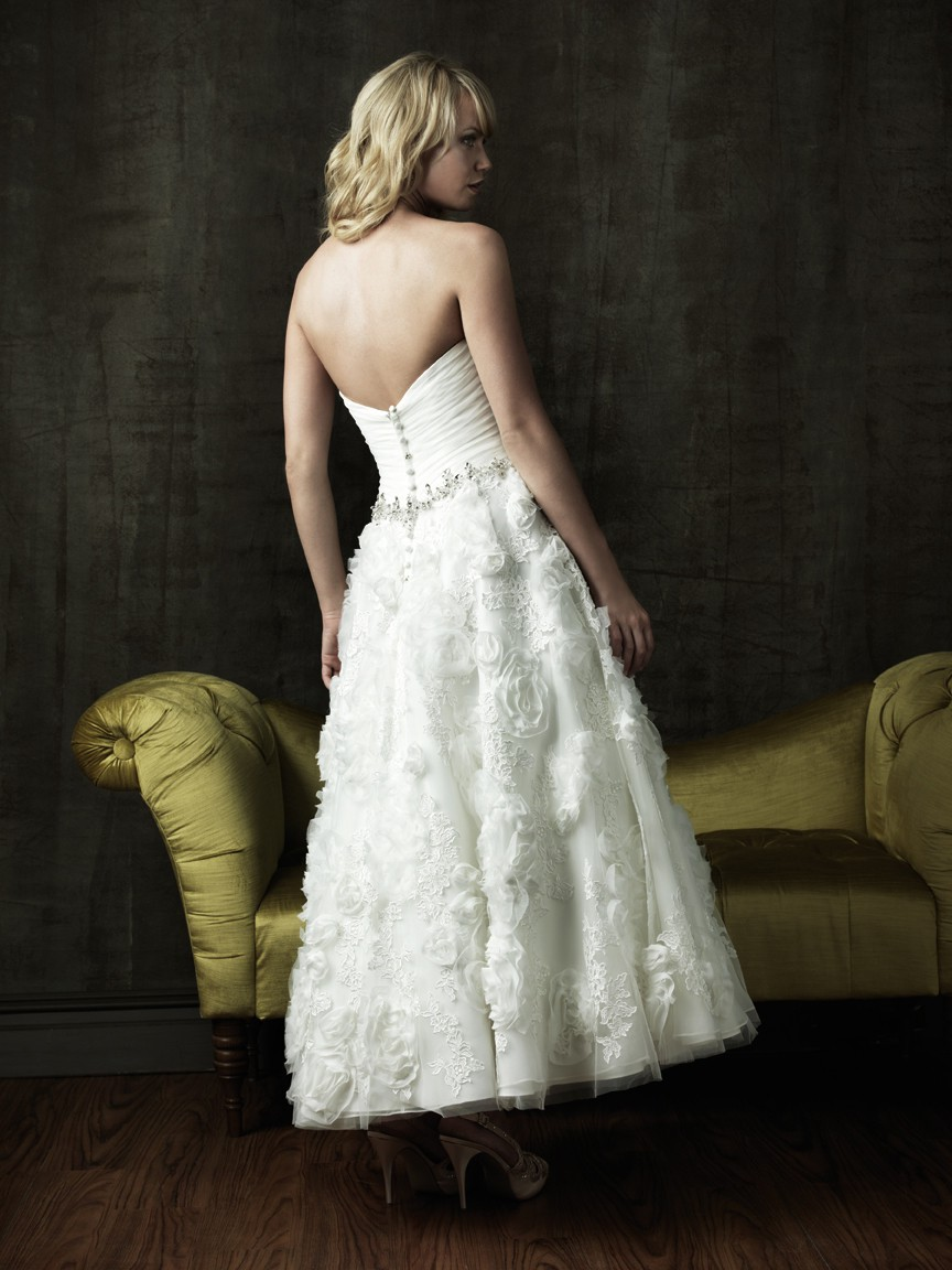 A line sweetheart tea length tulle lace floral destination for Floral beach wedding dresses