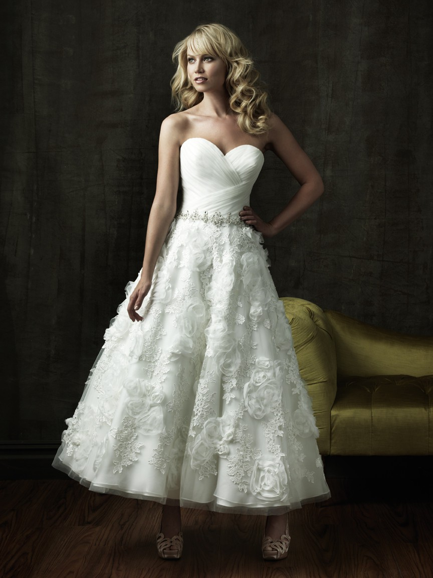 A Line Sweetheart Tea Length Tulle Lace Floral Destination Beach