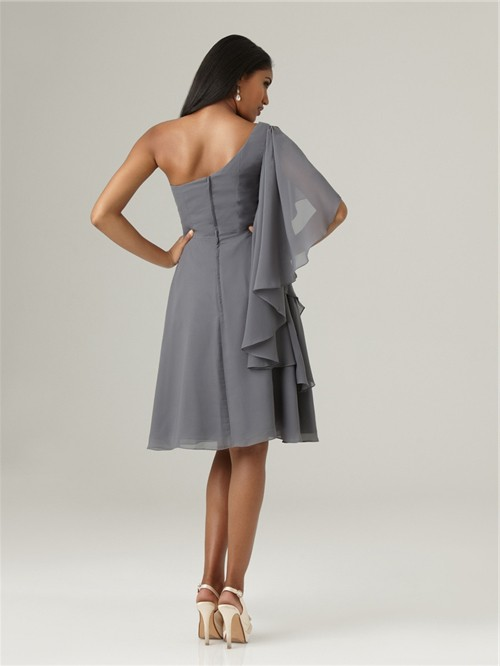 Dark blue one shoulder prom dress