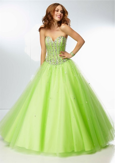 fd251d1069a ... Ball Gown Strapless Sweetheart Corset Back Lime Green Tulle Beaded  Crystal Prom Dress
