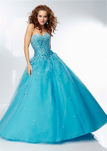 Ball Gown Sweetheart Corset Back Long Blue Tulle Beaded