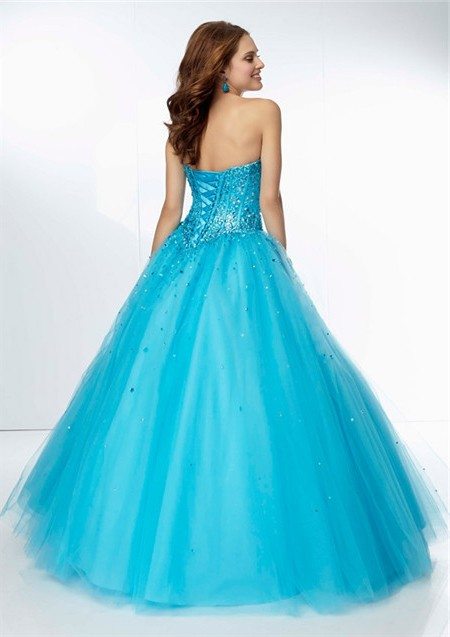 3124dc3137 Ball Gown Sweetheart Drop Waist Orange Tulle Beaded Sparkly Prom Dress  Corset Back ...