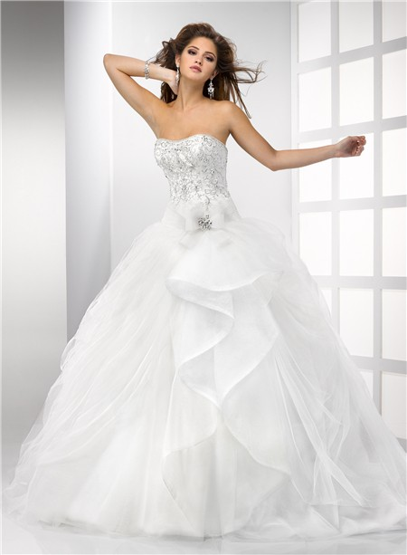 348c153ac4c Ball Gown Sweetheart Puffy Tulle Wedding Dress With Embroidery Beading  Crystal Detachable Straps