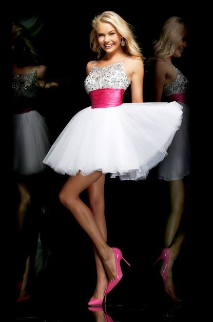 Spaghetti Strap Short White Tulle Beaded Tutu Cocktail Prom Dress ...