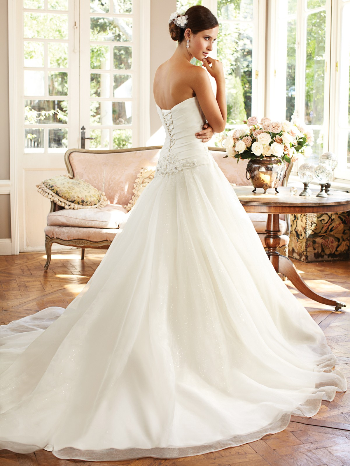 Classic princess a line sweetheart organza sequin beaded for Princess corset wedding dresses