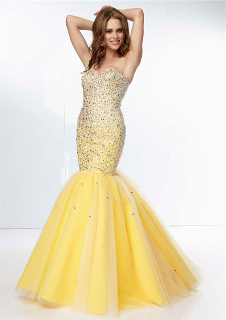Yellow Mermaid Prom Dresses
