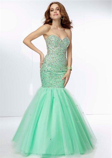 Long mint colored prom dresses