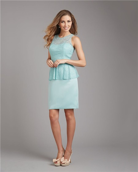 Column Scoop Neck Short Mint Green Satin Lace Peplum Wedding Guest ...