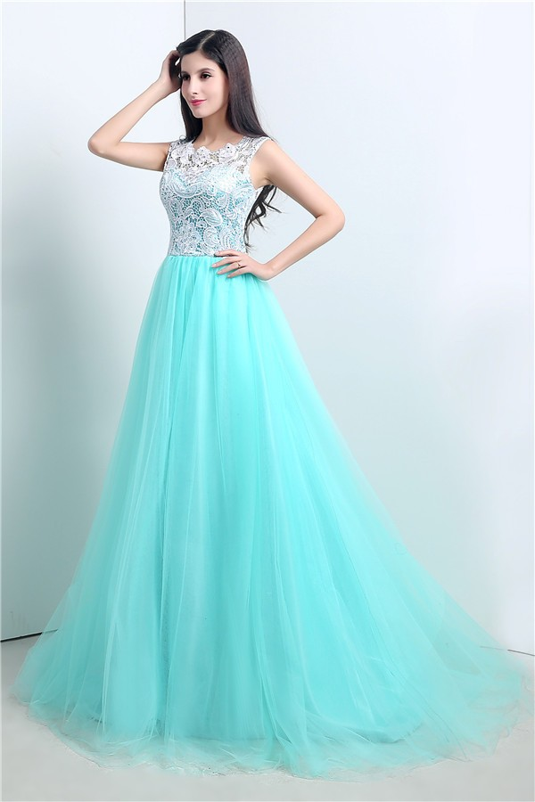 6e41c2ae21f Cute Ball Gown Aqua Tulle White Lace Prom Dress With Buttons