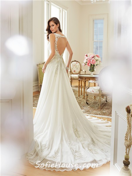 Elegant a line scoop neckline keyhole open back chiffon for A line lace open back wedding dress