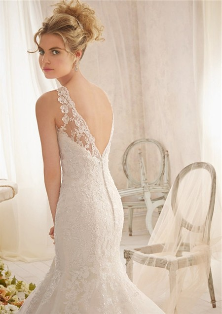 Elegant Fit And Flare Mermaid Scalloped Illusion Neckline V Back Tulle Lace Wedding Dress