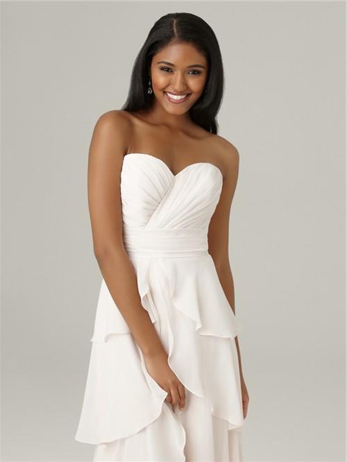 Elegant sweetheart floor length long white chiffon bridesmaid dress ...
