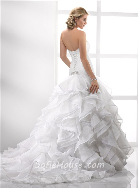Elegant Trumpet Mermaid Strapless Court Train Organza