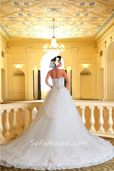 Fairy ball gown strapless tulle lace crystal corset for Strapless wedding dresses with long trains