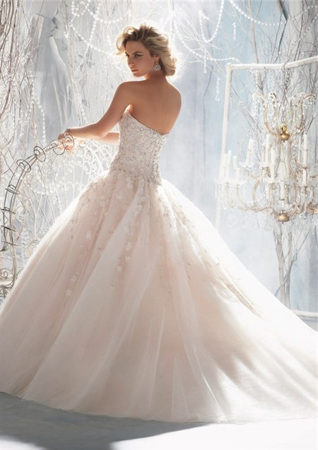 Fairy Tale Ball Gown Sweetheart Organza Ruffle Beaded