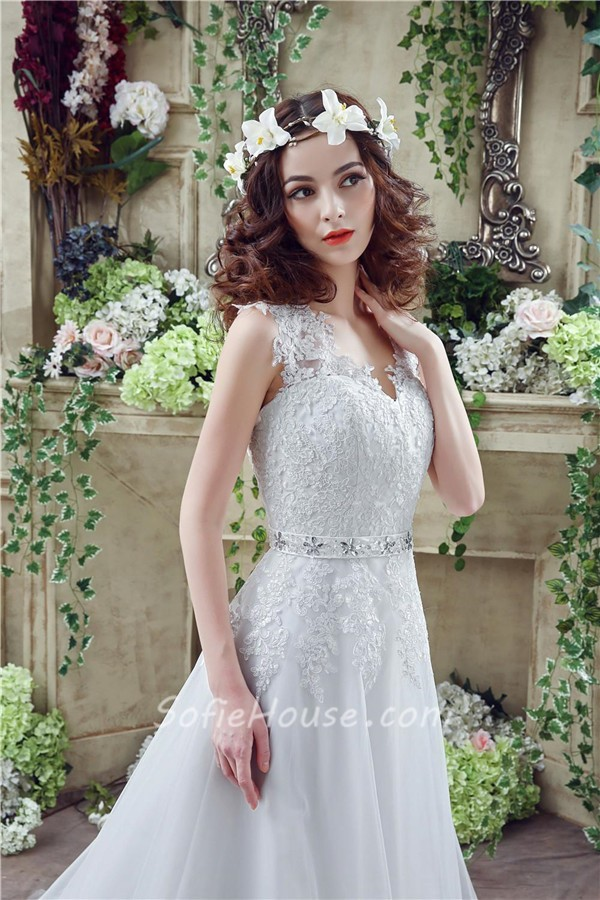 Fairy Princess A Line Tulle Lace Wedding Dress With Crystals Belt ...