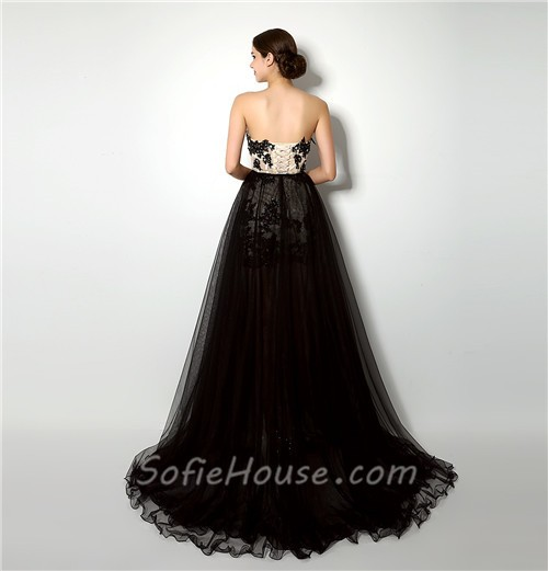 Fashion High Low Black Lace Tulle Corset Prom Dress With Detachable ...