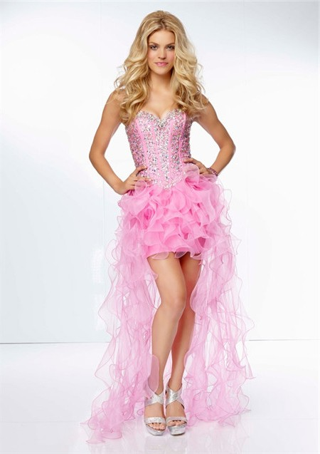 Fashion High Low Sweetheart Corset Back Pink Organza