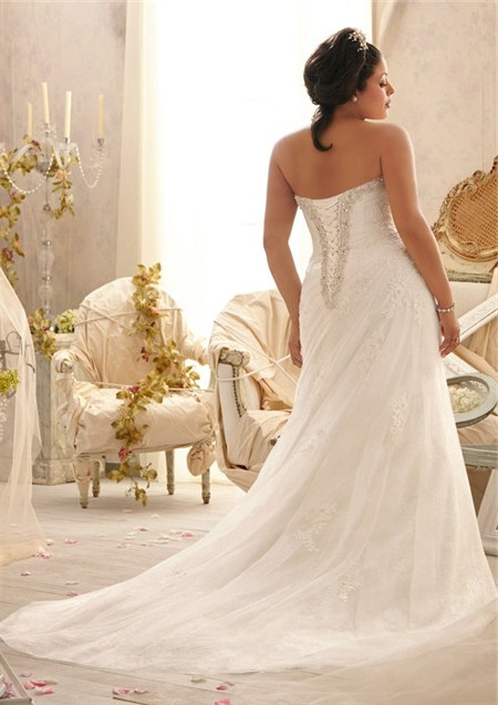 A Line Strapless Sweetheart Ruched Organza Lace Plus Size Wedding ...