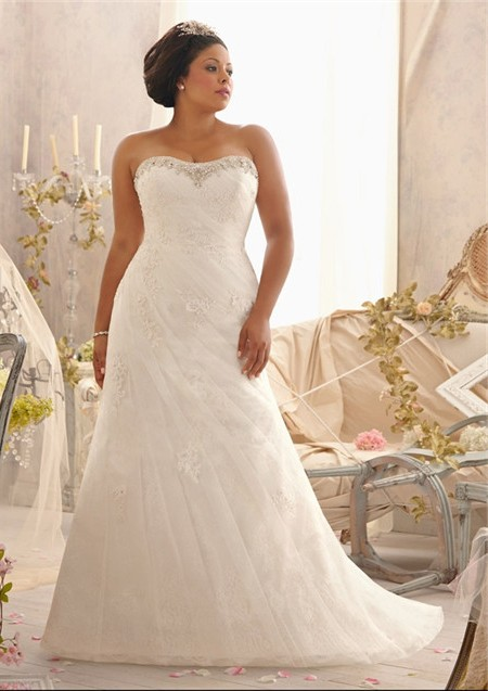 Ed A Line Strapless Sweetheart Ruched Organza Lace Plus Size Wedding Dress Corset Back