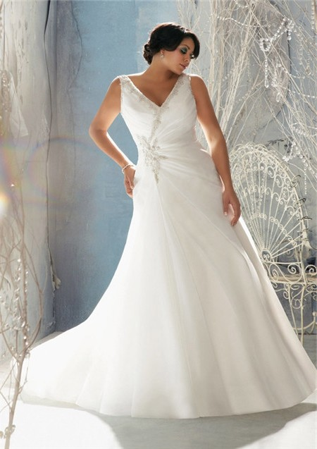 A Line V Neck Organza Beaded Crystal Plus Size Wedding Dress With ...