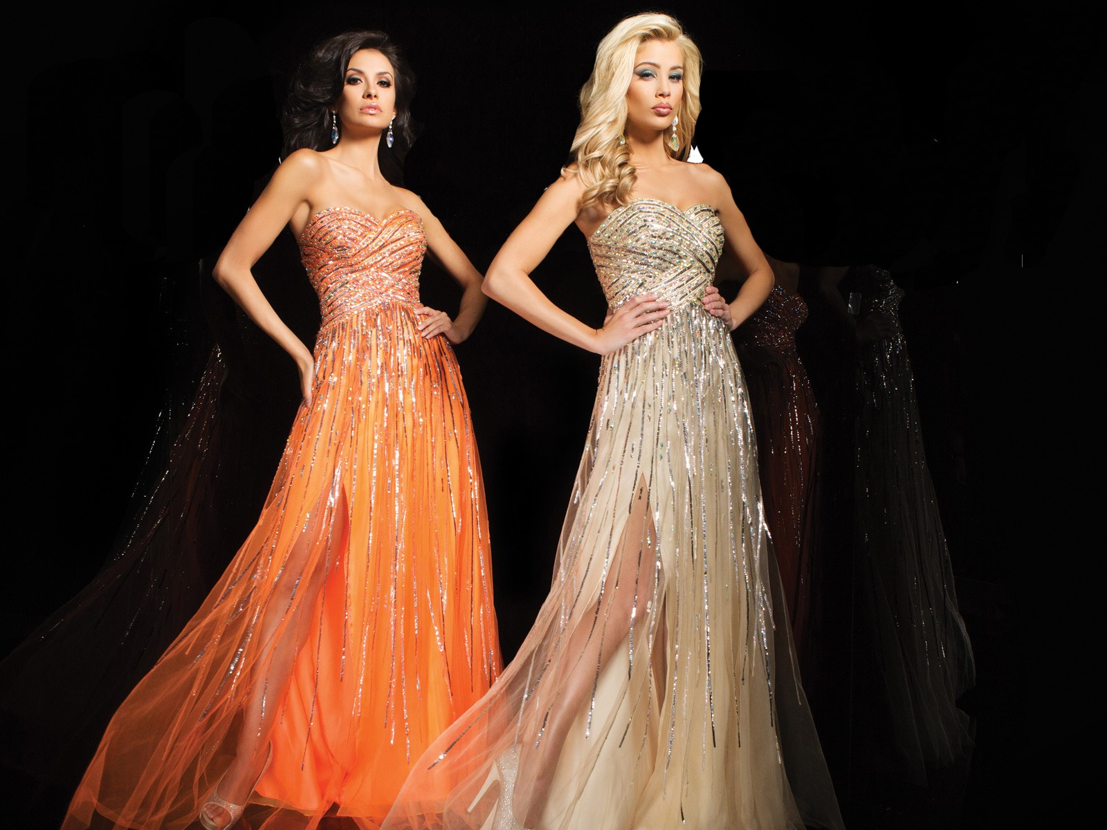 Sparkly Ball Gown Wedding Dresses: A Line Sweetheart Long Orange Tulle Sparkly Sequin Beaded